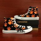 High Fashion Converse Shoes Dog Paws Hand Painted Shoes Black High Top Canvas Sneakers Gifts