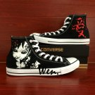 Naruto shippuuden Gaara Black Converse Sneaker Hand Painted Shoes High Top Canvas Sneakers Gifts