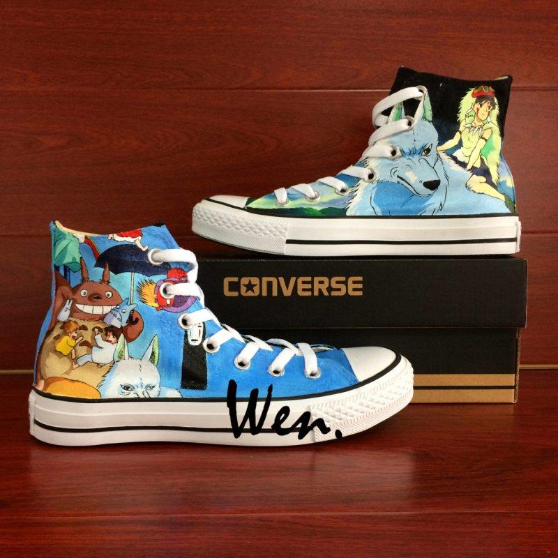 Cartoon Shoes Converse Princess Mononoke Totoro Hand Painted Shoes High Top Canvas Sneakers
