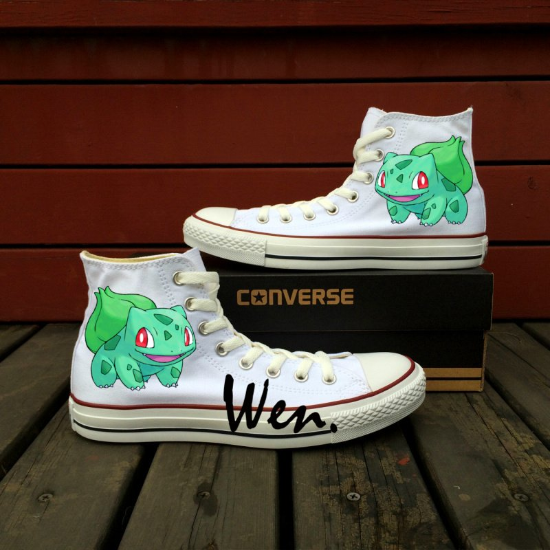 Boys Girls Converse All Star Pokemon Bulbasaur Hand Painted Canvas Shoes Unique Birthday Gifts