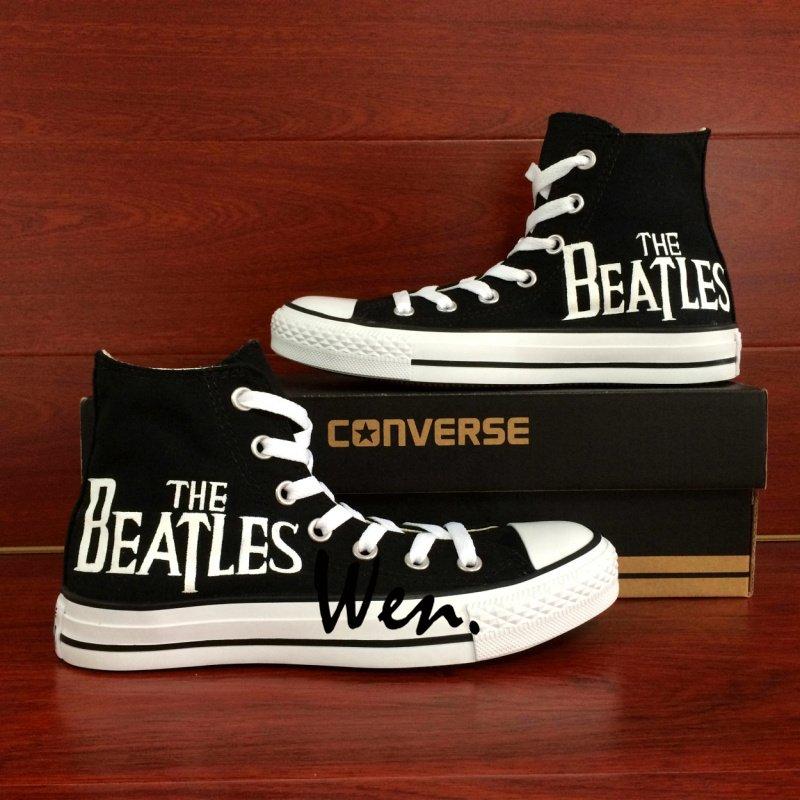 Black Converse Custom Hand Painted Shoes The Beatles Unique High Top Canvas Sneakers Men Women