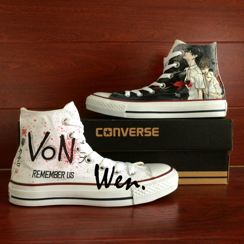 Anime Zankyou No Terror Converse All Star Hand Painted Shoes Canvas Sneakers Birthday Gifts