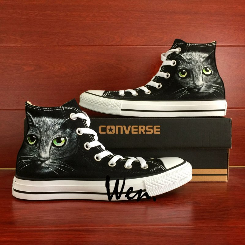 Black Converse Sneaker Custom Pet Cat Hand Painted Shoes Fashion High Top Canvas Sneakers Gifts