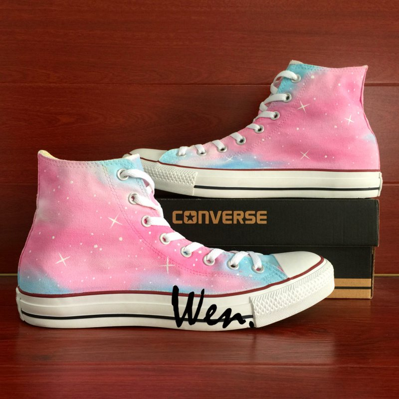 Women Men High Top Pink Galaxy Converse Shoes Custom Hand Painted Shoes Unique Canvas Sneakers