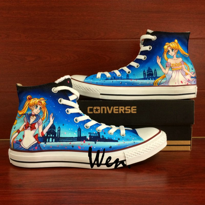 Women's Gifts Sailor Moon Converse All Star Custom Hand Painted Shoes High Top Canvas Sneakers