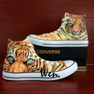 Unique Converse Sneakers Tiger Hand Painted Shoes High Top Canvas Sneakers Gifts Men Women