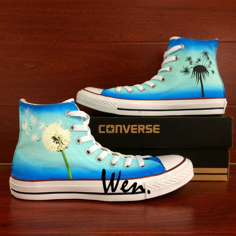 05aa35f77477 Hand Painted Converse Shoes Dandelion Custom Design High Top Canvas  Sneakers Men Women Gifts