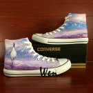 Custom Hand Painted Shoes Converse All Star Red-crowned Crane High Top Canvas Sneakers Gifts
