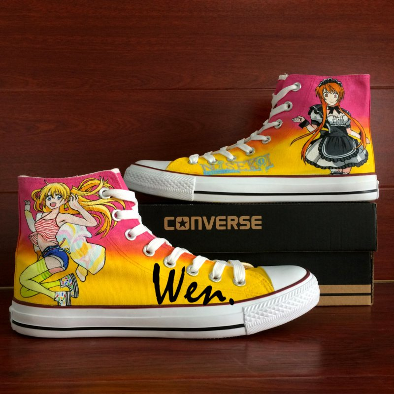Anime Nisekoi Shoes Men Women High Top Converse Chuck Taylor Hand Painted Canvas Sneakers Gifts
