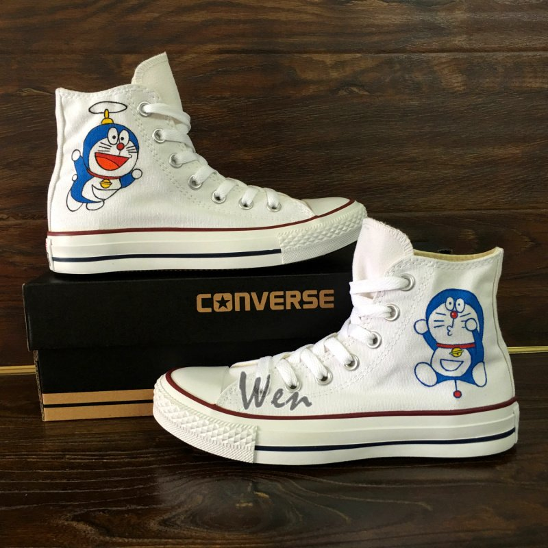 9efb87a26f53 Design Anime Converse All Star Shoes Doraemon Hand Painted Canvas Sneakers  White High Tops