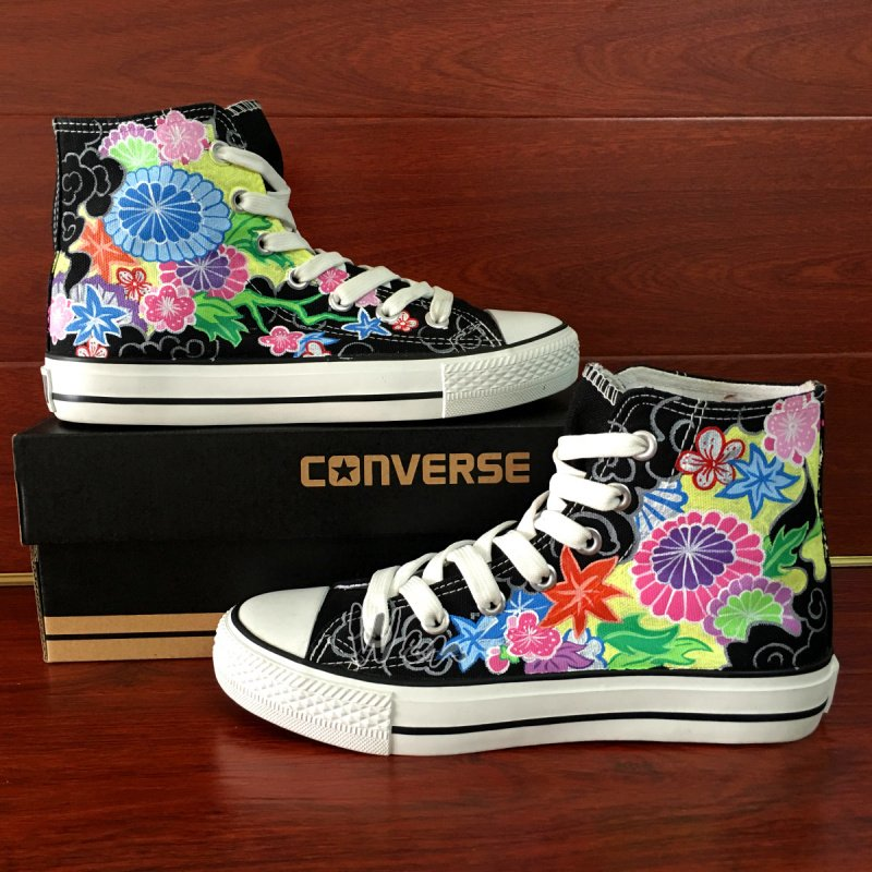 Original Floral Totem Black Converse All Star Hand Painted Canvas Shoes High Top Sneakers