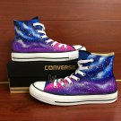 Original Hand Painted Converse Shoes Design Purple Blue Galaxy Canvas Sneakers for Man Woman