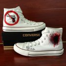 Original Design Hand Painted Shoes GUN BANS White High Top Canvas Sneakers
