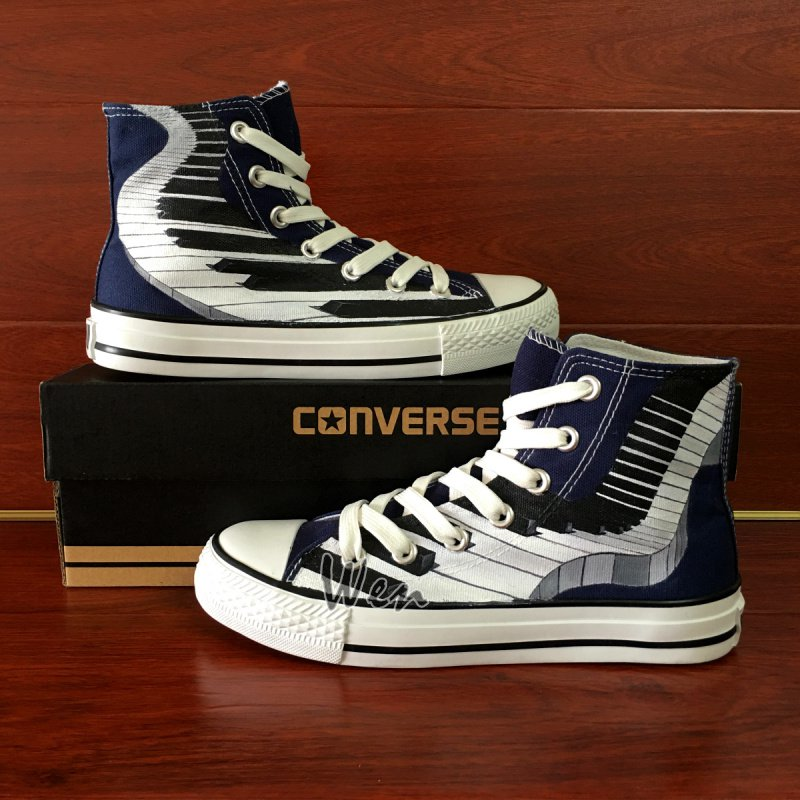 Piano Keys Hand Painted Shoes Custom Design Blue Converse Chuck Taylor Canvas Sneakers