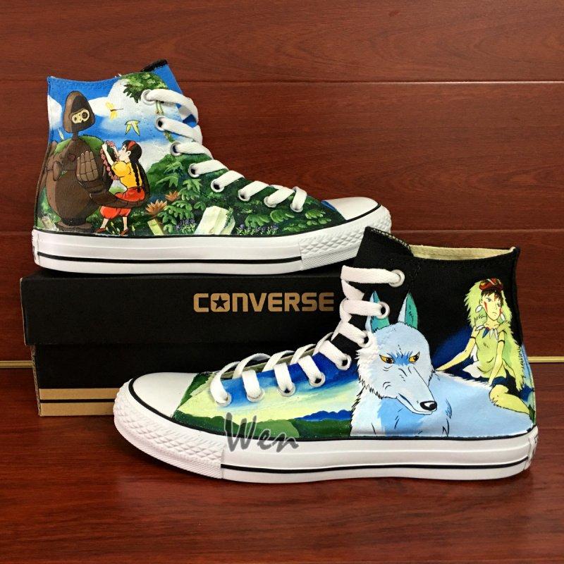 Design Anime Princess Mononoke Castle in the Sky Hand Painted Converse Shoes