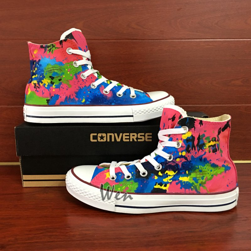 Original Design Converse Custom Colorful Splashed Ink Hand Painted Canvas Shoes
