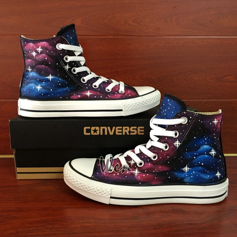 on sale 4ab41 e0fb3 Unisex Hand Painted Converse Shoes Original Design Galaxy Nebular High Top  Canvas Sneakers