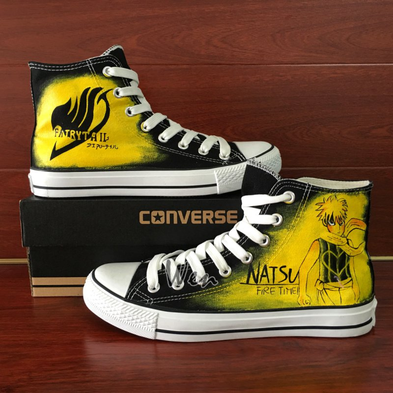 Custom Design Fairy Tail Natsu Anime Converse All Star Hand Painted Canvas Shoes