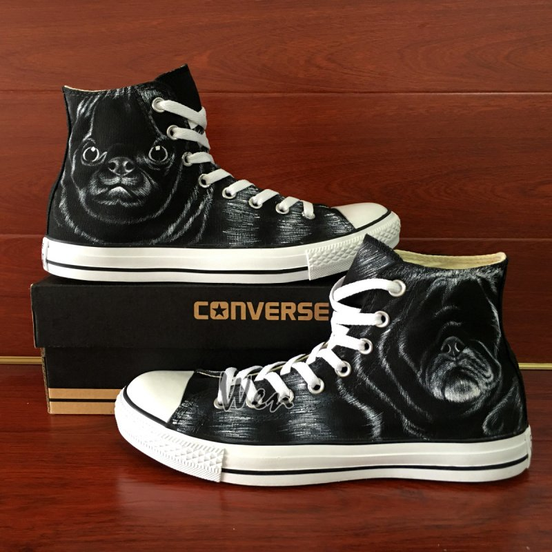 Custom Design Pet Dog Black Converse All Star Shoes Hand Painted Canvas Sneakers