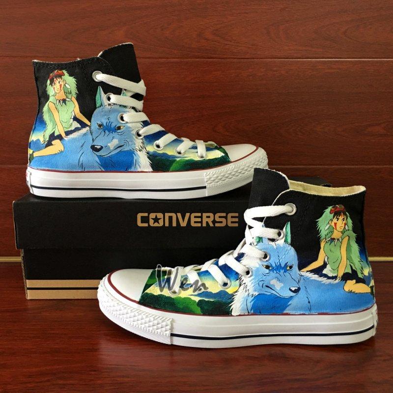 Anime Design Princess Mononoke Converse All Star Hand Painted Canvas Shoes for Man Woman