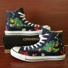 Blue Converse All Star Custom Design Angler Fish Hand Painted Canvas Shoes High Top Sneakers