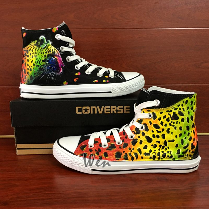 Animal Leopard Print Original Design Converse Shoes Hand Painted Canvas Sneakers for Man Woman