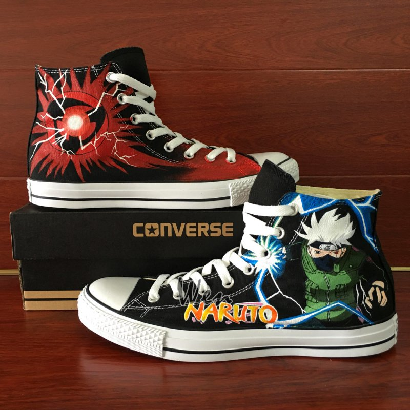 Anime Naruto Hatake Kakashi Converse All Star Design Hand Painted Canvas Shoes