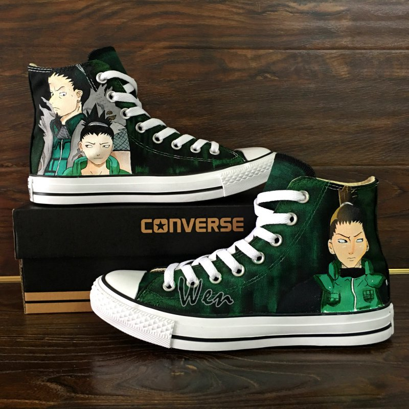 Anime Naruto Shikamaru Custom Design Converse All Star Hand Painted Canvas Sneakers