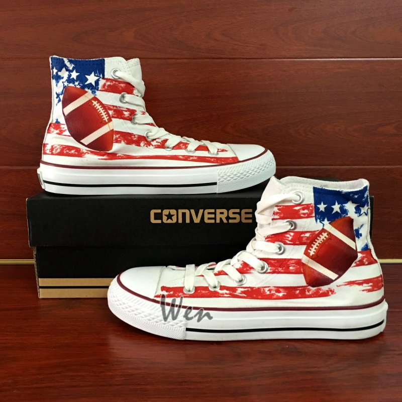 American Football Original Design Hand Painted Shoes Man Woman's Converse All Star