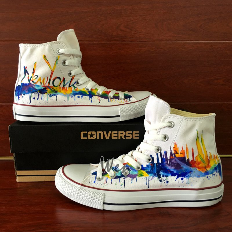 Original Design New York Skyline Hand Painted Shoes Unisex Converse All Star Canvas Sneakers