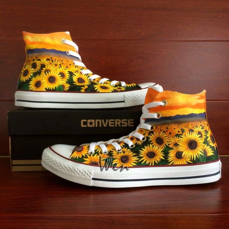 Floral Converse Original Design Sunflower Hand Painted Shoes Man Woman Canvas Sneakers