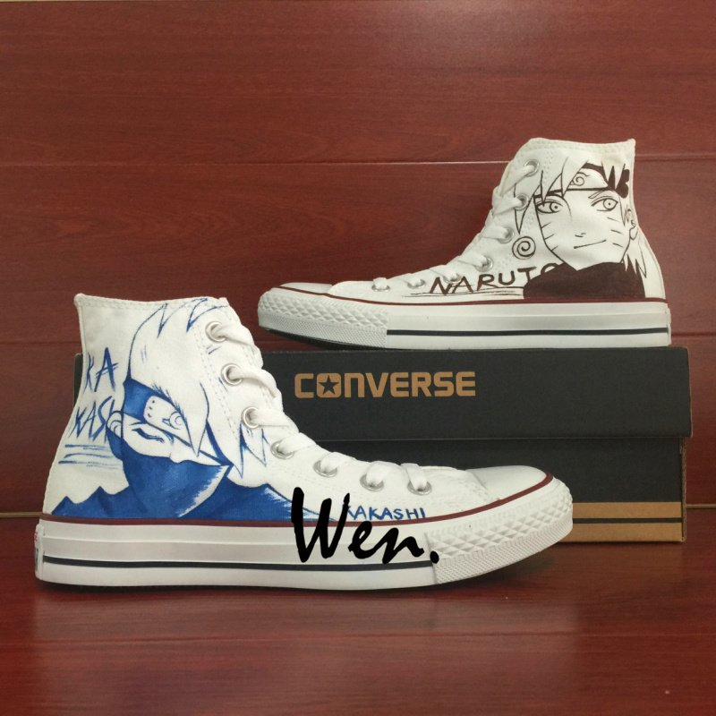 Anime Naruto Kakashi Custom Design Hand Painted Canvas Shoes Unisex White High Top Converse