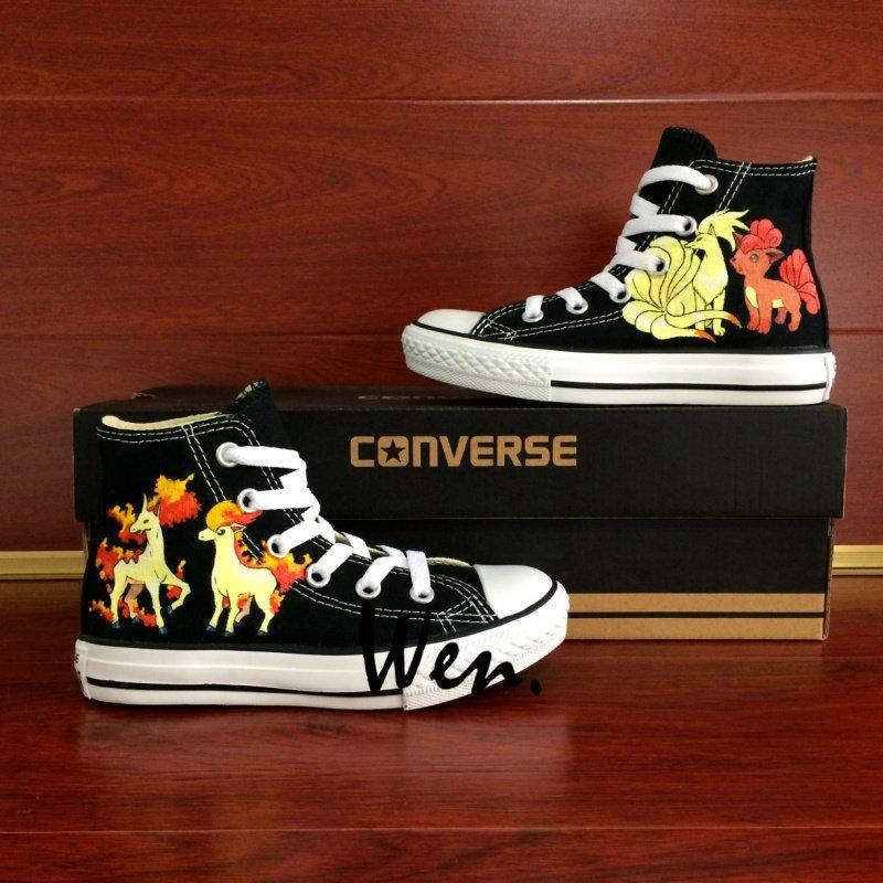 Pokemon Ninetales Rapidash Ponyta Vulpix Hand Painted Shoes Unisex Converse Sneakers