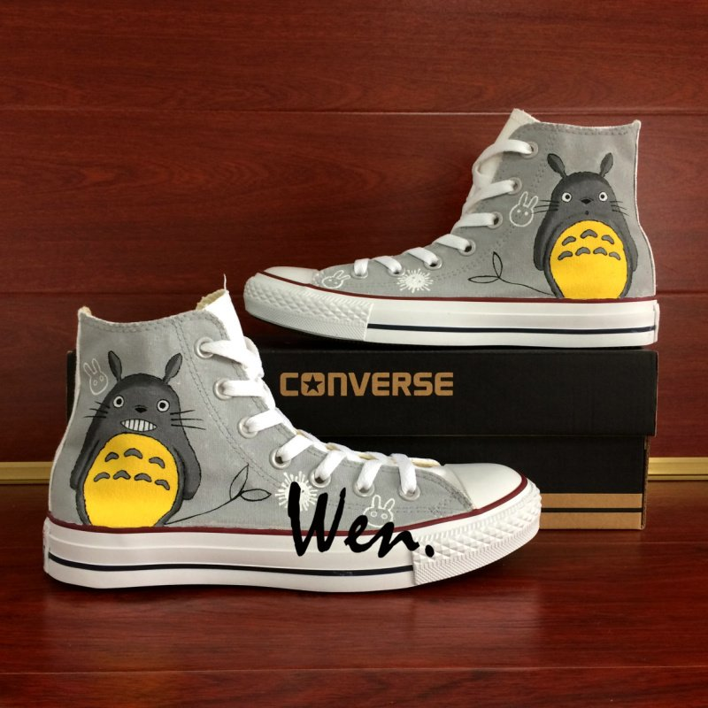 Unisex Hand Painted Shoes Converse All Star My Neighbor Totoro Anime Canvas Sneakers