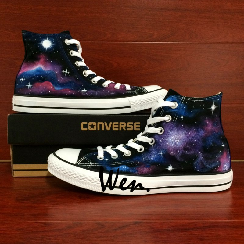 Original Design Galaxy Stars Nebular Converse Shoes Man Woman Hand Painted Canvas Sneakers