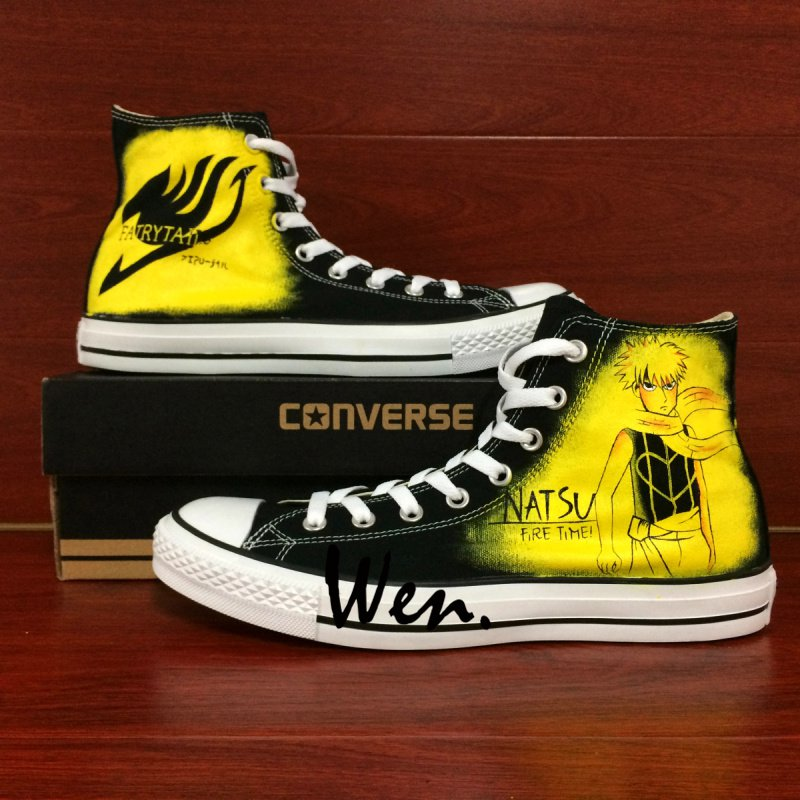 Anime Converse Shoes Design Fairy Tail Logo Hand Painted Shoes Black Canvas Sneakers