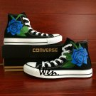 Blue Rose Original Flower Hand Painted Canvas Shoes Converse All Star for Man Woman