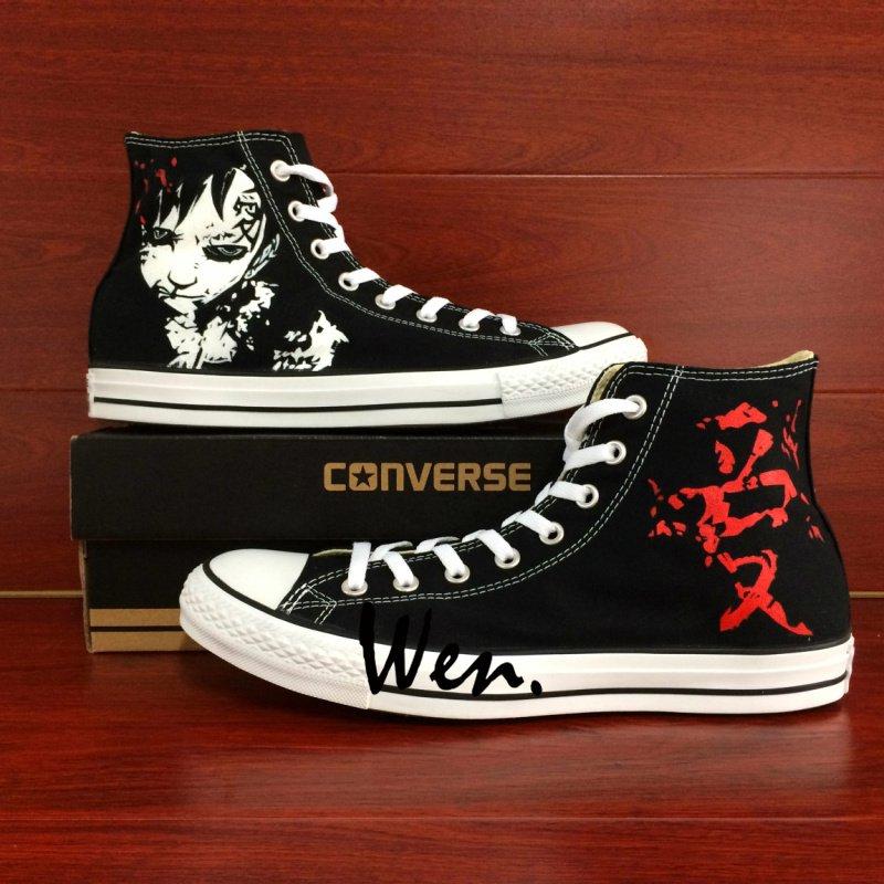 Design Naruto Shippuuden Gaara Hand Painted Shoes Anime High Top Converse All Star