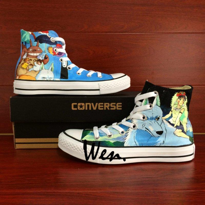 Custom Design Totoro Princess Mononoke Anime Hand Painted Canvas Shoes Unisex Converse