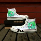 Pokemon Bulbasaur Design White Hand Painted Anime Shoes High Top Converse All Star