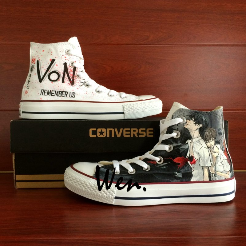 Anime Shoes Zankyou No Terror Design Hand Painted Canvas Sneakers Unisex Converse