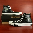 Design Custom Animal Pet Cat Hand Painted Shoes Blue Converse High Top Canvas Sneakers