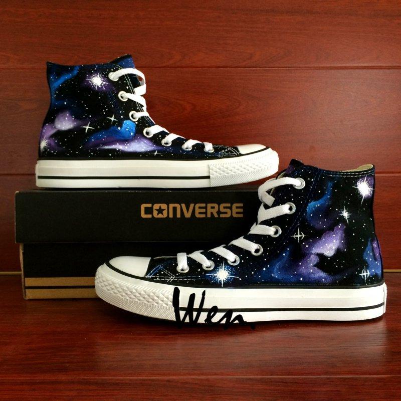 Galaxy Nebular Space Stars Original Design Hand Painted Shoes Unisex High Top Converse