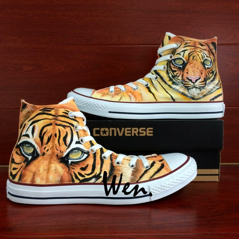 Design Hand Painted Shoes Original Animal Tiger Converse All Star Men Women's Canvas Sneakers