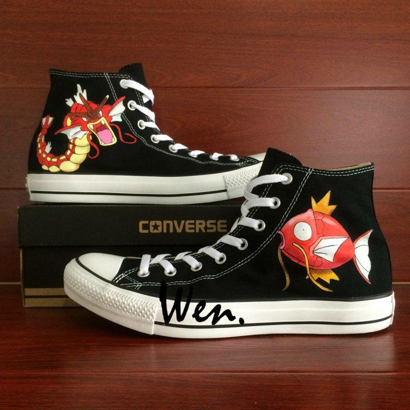 Pokemon Gyarados Magikarp Anime Hand Painted Shoes Design Unisex Converse Sneakers