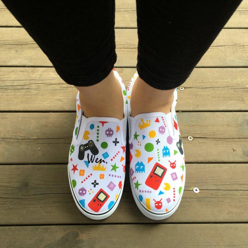 Wen Colorful Childlike Game Machine Design Slip On Shoes Hand Painted Canvas Sneakers