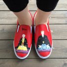 Wen Men Women's Hand Painted Shoes Design Anime Shouwa Genroku Rakugo Shinjuu Slip On
