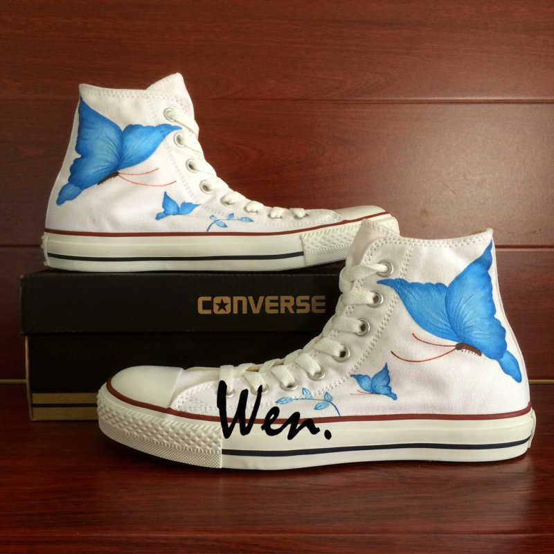 Original Design Hand Painted Shoes Blue Butterfly Converse All Star High Top Canvas Sneakers