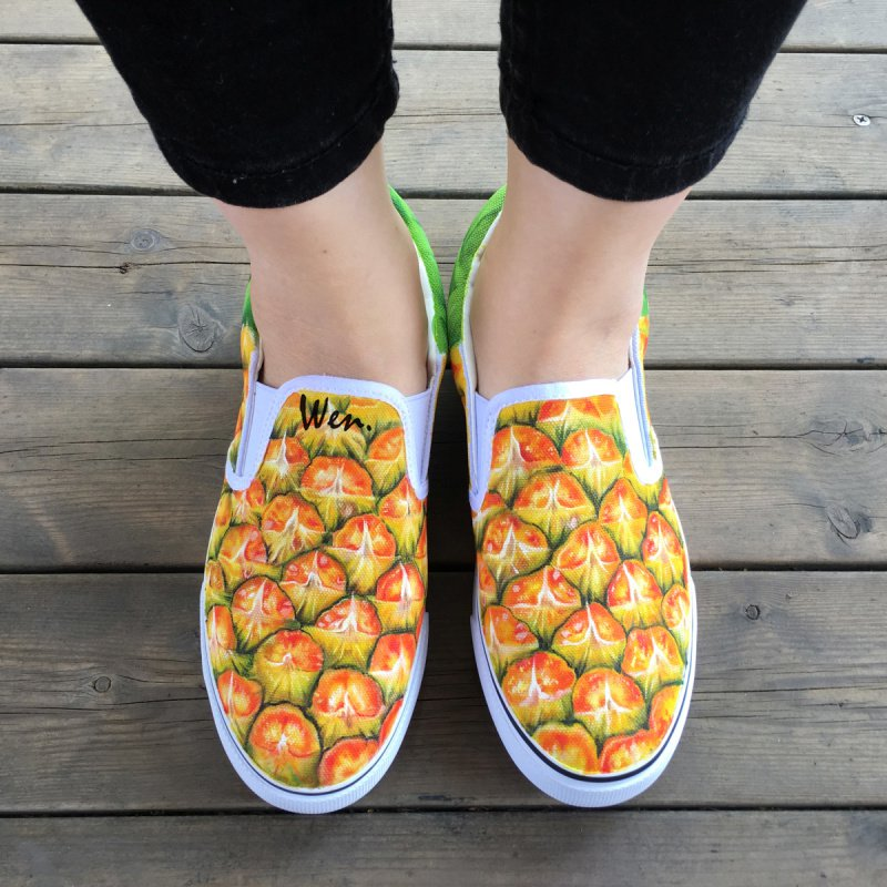 Wen Fruit Pineapple Original Design Hand Painted Shoes Slip on Flats Canvas Sneakers