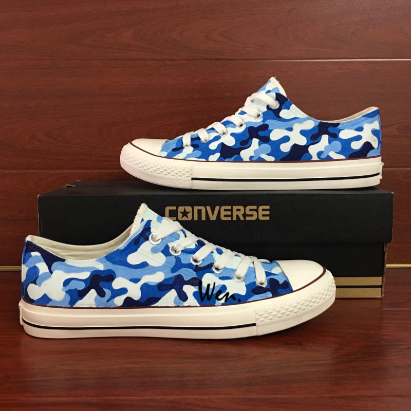 Unisex Hand Painted Shoes Custom Design Navy Camouflage Low Top Converse All Star